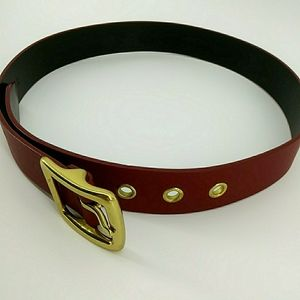 Coach Genuine Cow Leather Brass Buckle Red Belt S